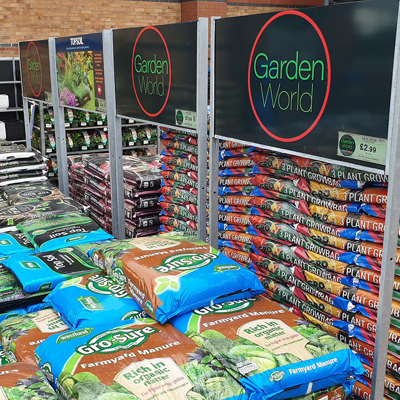 Garden Centre Racking with Point of sale display