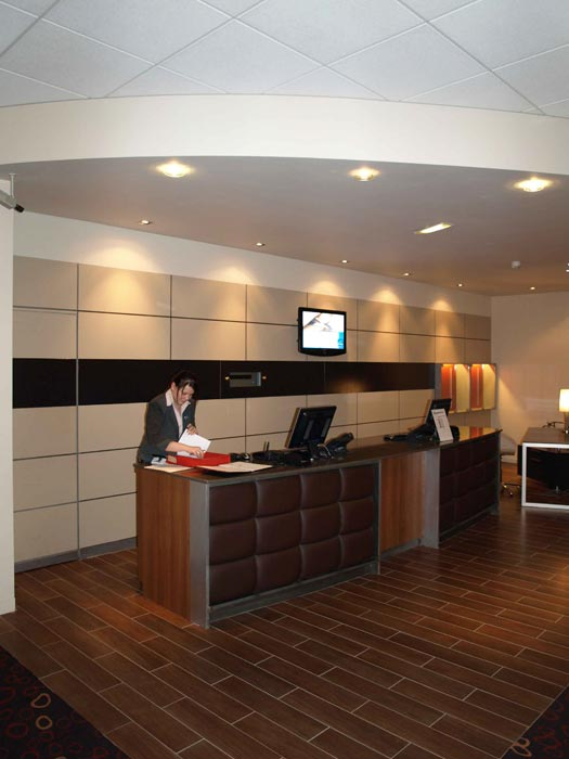 Hotel reception counter