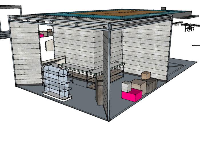 CAD render for market stall design