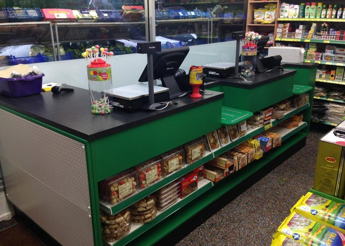 store counter with shelving