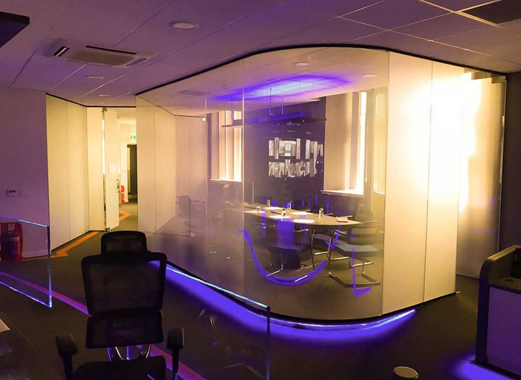 Curved glass office wall