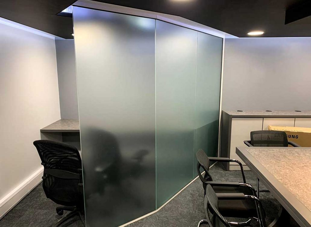 frosted faceted glass wall