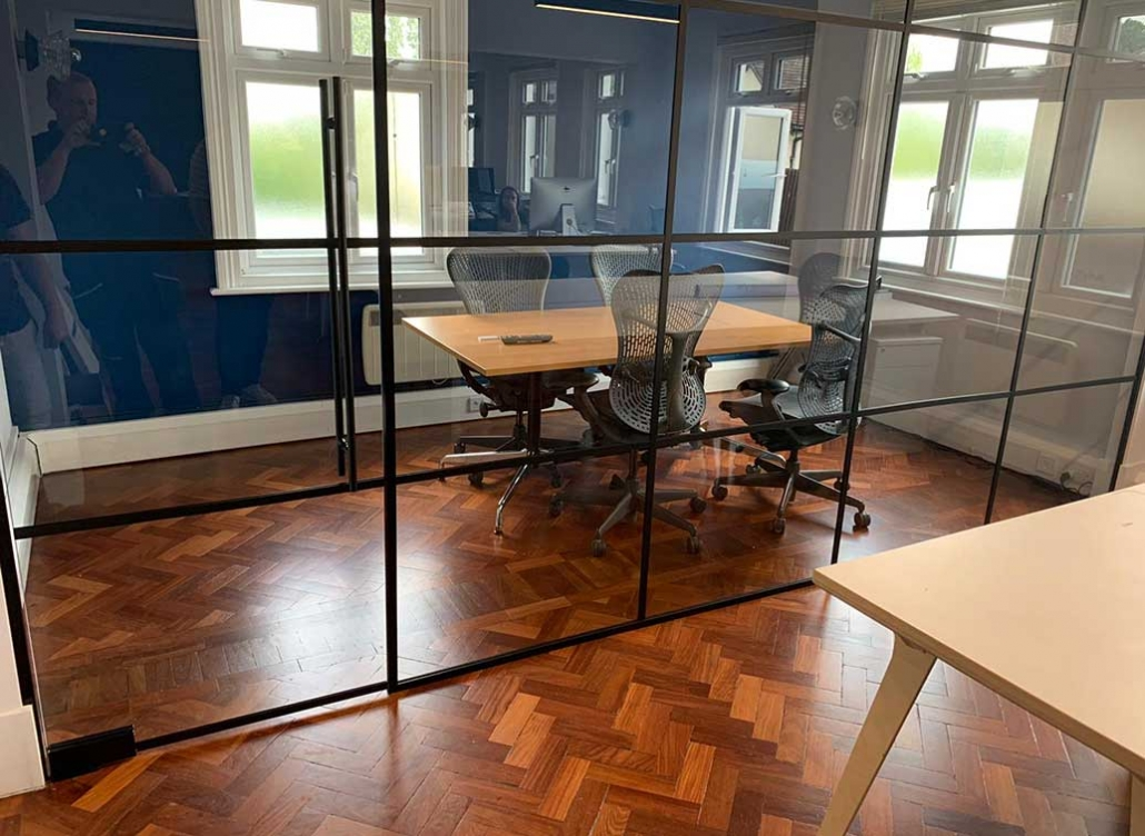 Boardroom glass partition