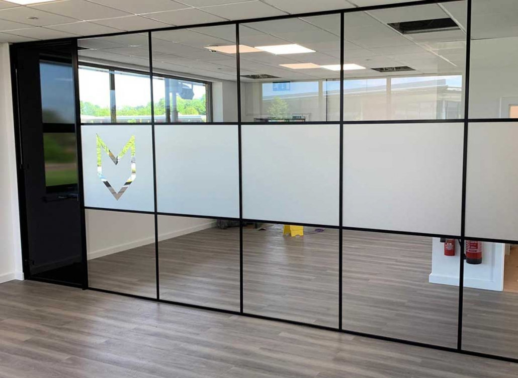 Glass partition with frosting