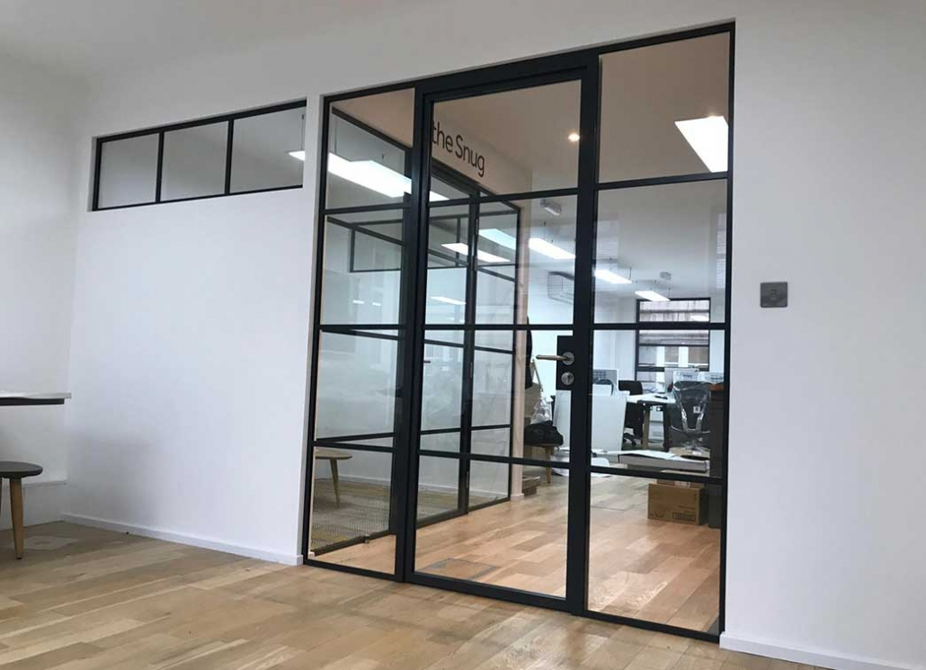 Industrial design glass wall