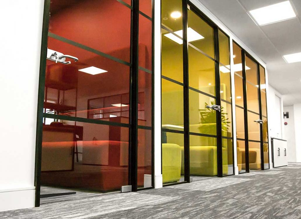 industrial look glass partition walls