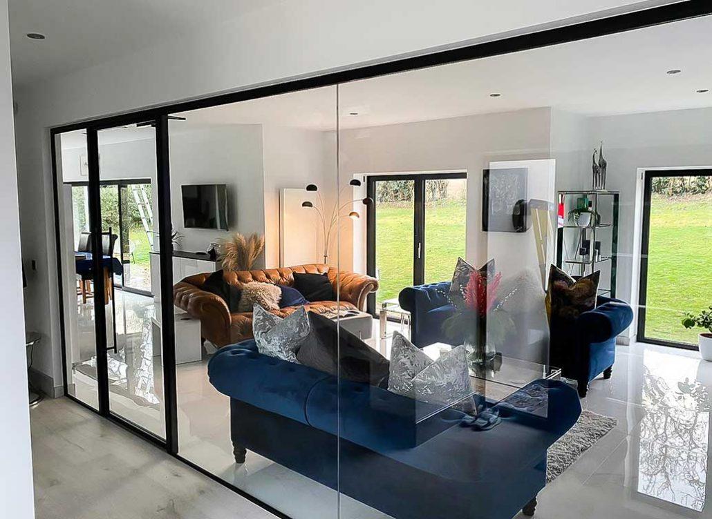 single glazed glass home wall