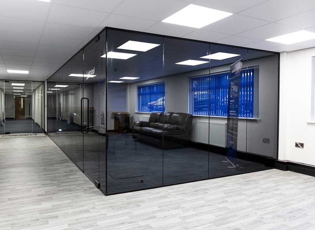 tinted single glazed glass partition walls